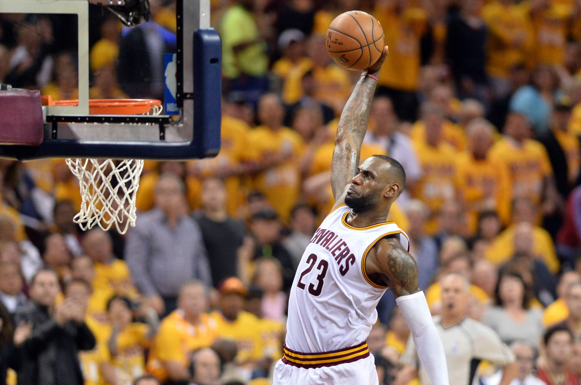 LeBron James throws down a powerful jam during the Eastern Conference Finals against the Toronto Raptors
