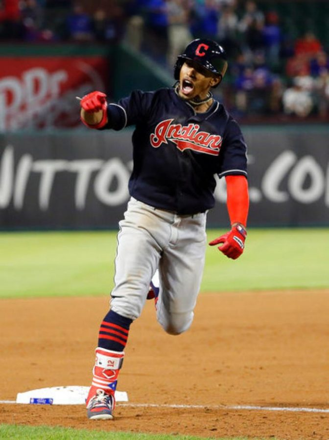 Indians+shortstop+Francisco+Lindor+celebrates+as+he+rounds+third+base+following+his+grand+slam+against+the+Texas+Rangers+