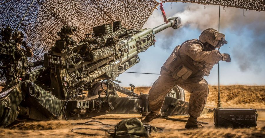 U.S. Marines with the 11th Marine Expeditionary Unit fire their M777 Howitzer during a fire mission in northern Syria as part of Combined Joint Task Force - Operation Inherent Resolve, Mar. 24, 2017.  The 11th MEU was deployed in the Asia-Pacific and Middle Eastern regions and acted as a rapid response force available to conduct operations in support of U.S. Forces and allied and partner nations. More than 60 regional and international nations have joined together to enable partnered forces to defeat ISIS and restore stability and security. CJTF-OIR is the global Coalition to defeat ISIS in Iraq and Syria. (U.S. Marine Corps photo by Cpl. Zachery C. Laning)