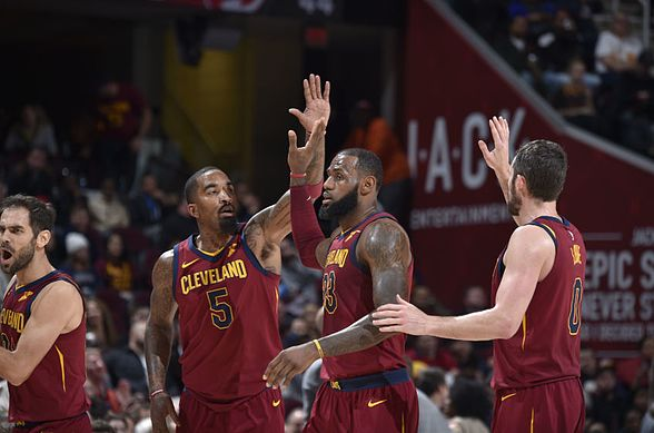 CLEVELAND, OH - DECEMBER 12:  JR Smith #5 and LeBron James #23 of the Cleveland Cavaliers give high fives during the game against the Atlanta Hawks on December 12, 2017 at Quicken Loans Arena in Cleveland, Ohio. NOTE TO USER: User expressly acknowledges and agrees that, by downloading and/or using this Photograph, user is consenting to the terms and conditions of the Getty Images License Agreement. Mandatory Copyright Notice: Copyright 2017 NBAE  (Photo by David Liam Kyle/NBAE via Getty Images)