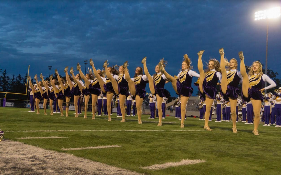 Rangerettes in the midst of their kickline