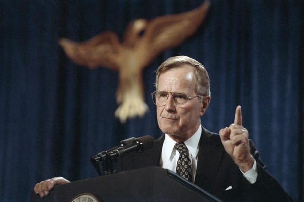 U.S. President George H.W. Bush speaks during a fundraiser in Dallas, on Nov. 1, 1991.