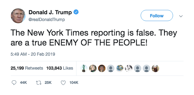 Trump+Calls+The+New+York+Times+%27The+Enemy+of+the+People%27
