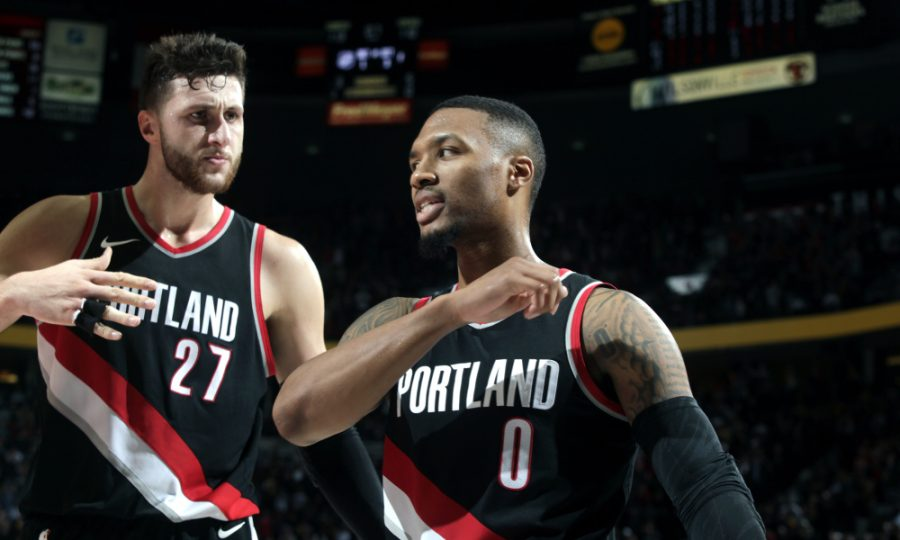 PORTLAND%2C+OR+-+NOVEMBER+2%3A++Damian+Lillard+%230+and+Jusuf+Nurkic+%2327+of+the+Portland+Trail+Blazers+react+after+scoring+the+game+winning+basket+against+the+Los+Angeles+Lakers+on+November+2%2C+2017+at+the+Moda+Center+in+Portland%2C+Oregon.+NOTE+TO+USER%3A+User+expressly+acknowledges+and+agrees+that%2C+by+downloading+and+or+using+this+Photograph%2C+user+is+consenting+to+the+terms+and+conditions+of+the+Getty+Images+License+Agreement.+Mandatory+Copyright+Notice%3A+Copyright+2017+NBAE+%28Photo+by+Cameron+Browne%2FNBAE+via+Getty+Images%29