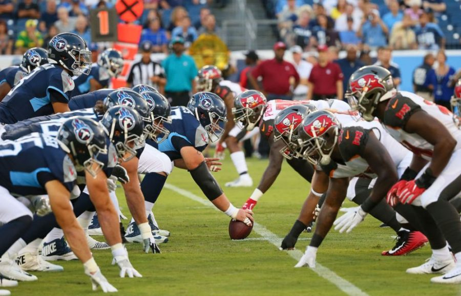 NASHVILLE, TN - AUGUST 18:  The Tennessee Titans line up against the Tampa Bay Buccaneers during the first half of a pre-season game at Nissan Stadium on August 18, 2018 in Nashville, Tennessee.  (Photo by Frederick Breedon/Getty Images)