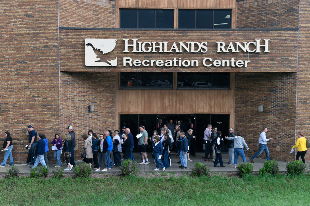 HIGHLANDS RANCH, CO - MAY 7:  Parents are guided from the Highlands Ranch Recreation Center at Northridge to pick up their kids after a shooing at the STEM school after a shooting at their school on May 7, 2019 in Highlands Ranch, Colorado.  A student shot at the STEM School in Highlands Ranch has died, according to Denver7, and law enforcement officials have reported eight students were injured in the gunfire that erupted Tuesday afternoon inside the school. (Photo by Helen H. Richardson/The Denver Post)