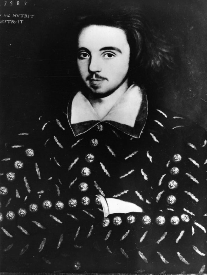 English dramatist Christopher Marlowe (1564 - 1593), 1585. This is the only known portrait of him.