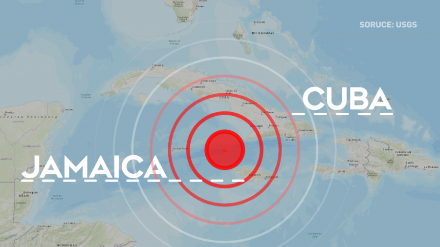 Earthquake between Jamaica and Cuba