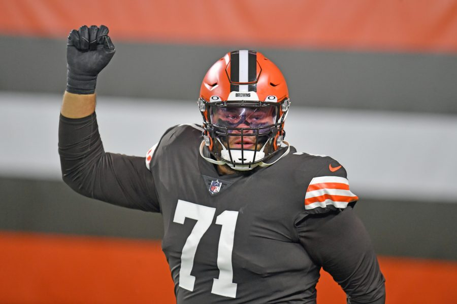 CLEVELAND, OHIO - SEPTEMBER 17: Offensive tackle Jedrick Wills #71 of the Cleveland Browns runs onto the field during player introductions prior to the game against the Cincinnati Bengals at FirstEnergy Stadium on September 17, 2020 in Cleveland, Ohio. The Browns defeated the Bengals 35-30. (Photo by Jason Miller/Getty Images)