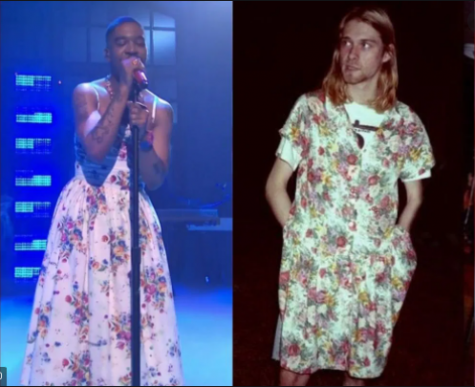 Kid Cudis (on the left) wearing a dress that is a solute to the dress Cobain (on the right) wore during a magazine photoshoot.