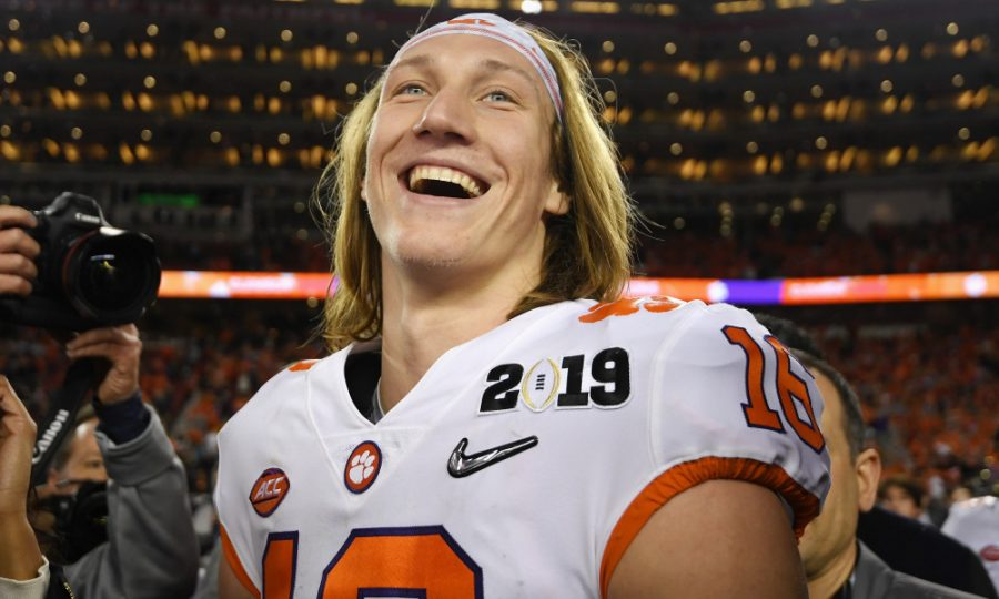 SANTA CLARA, CA - JANUARY 07:  Trevor Lawrence #16 of the Clemson Tigers reacts after his teams 44-16 win over the Alabama Crimson Tide in the CFP National Championship presented by AT&T at Levi's Stadium on January 7, 2019 in Santa Clara, California.  (Photo by Harry How/Getty Images) ORG XMIT: 775241470 ORIG FILE ID: 1079277888